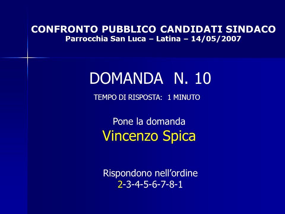 CONFRONTO PUBBLICO CANDIDATI SINDACO Parrocchia San Luca – Latina – 14/05/2007 Rispondono nellordine 2-3-4-5-6-7-8-1 DOMANDA N.
