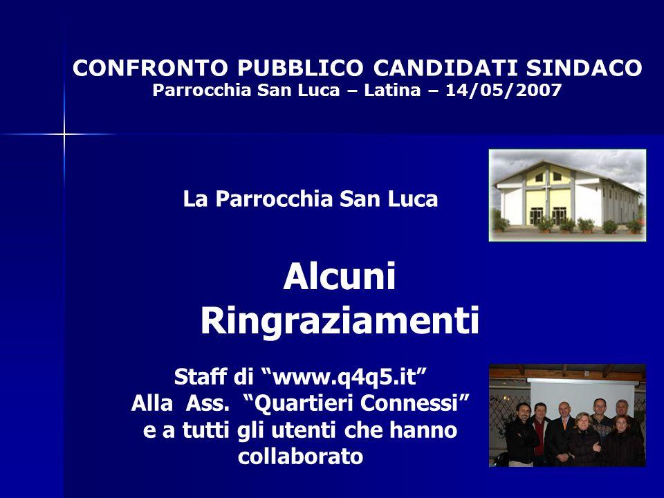 CONFRONTO PUBBLICO CANDIDATI SINDACO Parrocchia San Luca – Latina – 14/05/2007 Alcuni Ringraziamenti La Parrocchia San Luca Staff di www.q4q5.it Alla Ass.