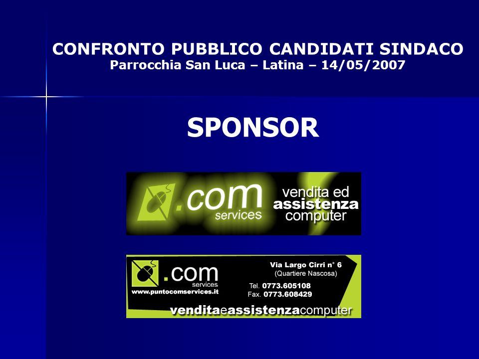 CONFRONTO PUBBLICO CANDIDATI SINDACO Parrocchia San Luca – Latina – 14/05/2007 SPONSOR