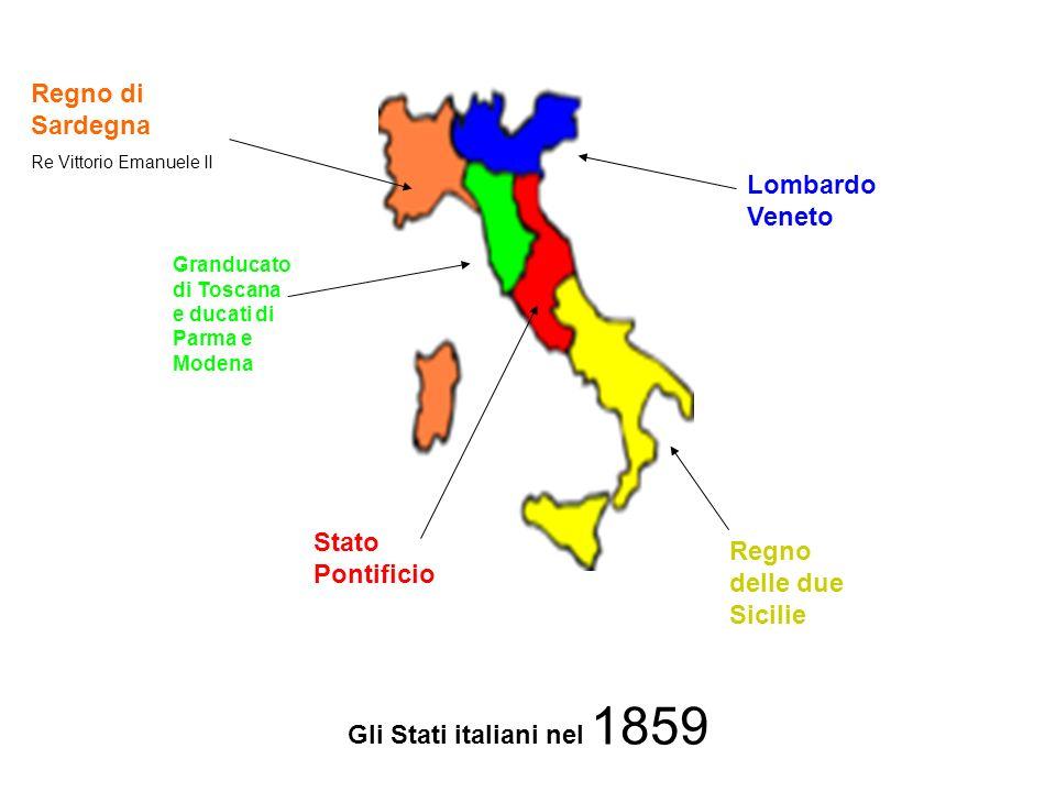 Regno di Sardegna Re Vittorio Emanuele II Stato Pontificio Regno delle due Sicilie Lombardo Veneto Granducato di Toscana e ducati di Parma e Modena Gli Stati italiani nel 1859