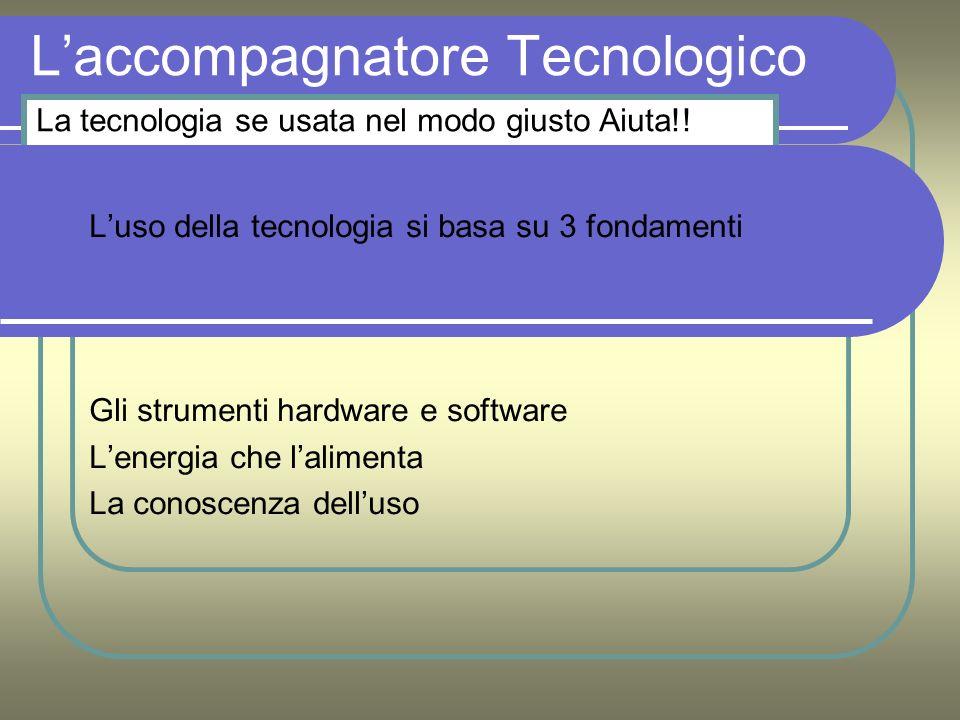 Laccompagnatore Tecnologico Luso della tecnologia si basa su 3 fondamenti Gli strumenti hardware e software Lenergia che lalimenta La conoscenza delluso La tecnologia se usata nel modo giusto Aiuta!!