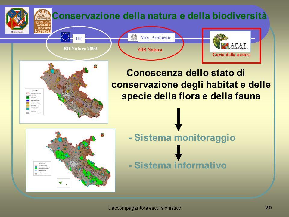 L accompagantore escursionistico20 Conoscenza dello stato di conservazione degli habitat e delle specie della flora e della fauna - Sistema monitoraggio - Sistema informativo Conservazione della natura e della biodiversità Carta della natura GIS Natura Min.