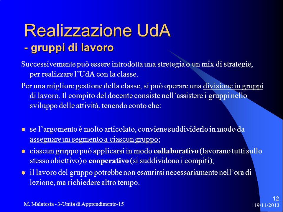 19/11/2013 M. Malatesta - 3-Unità di Apprendimento-15 12 Successivemente può essere introdotta una stretegia o un mix di strategie, per realizzare lUd