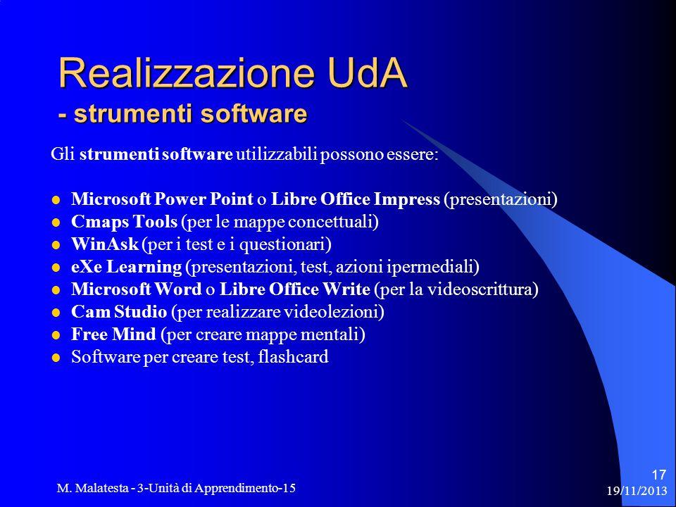 19/11/2013 M. Malatesta - 3-Unità di Apprendimento-15 17 Gli strumenti software utilizzabili possono essere: Microsoft Power Point o Libre Office Impr