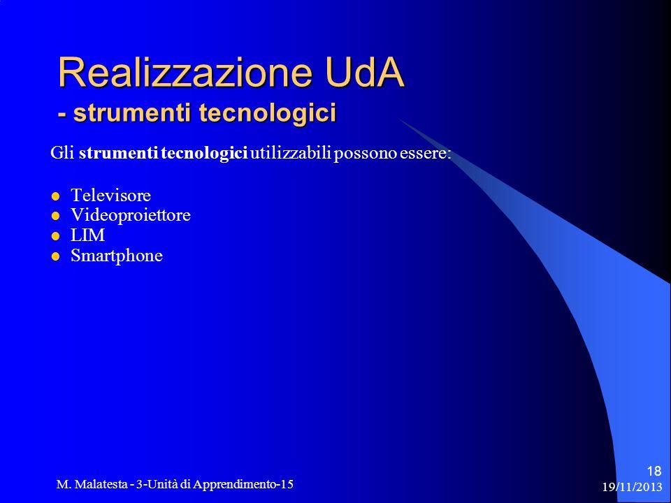 19/11/2013 M. Malatesta - 3-Unità di Apprendimento-15 18 Gli strumenti tecnologici utilizzabili possono essere: Televisore Videoproiettore LIM Smartph