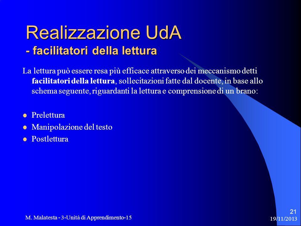 19/11/2013 M. Malatesta - 3-Unità di Apprendimento-15 21 Realizzazione UdA - facilitatori della lettura La lettura può essere resa più efficace attrav