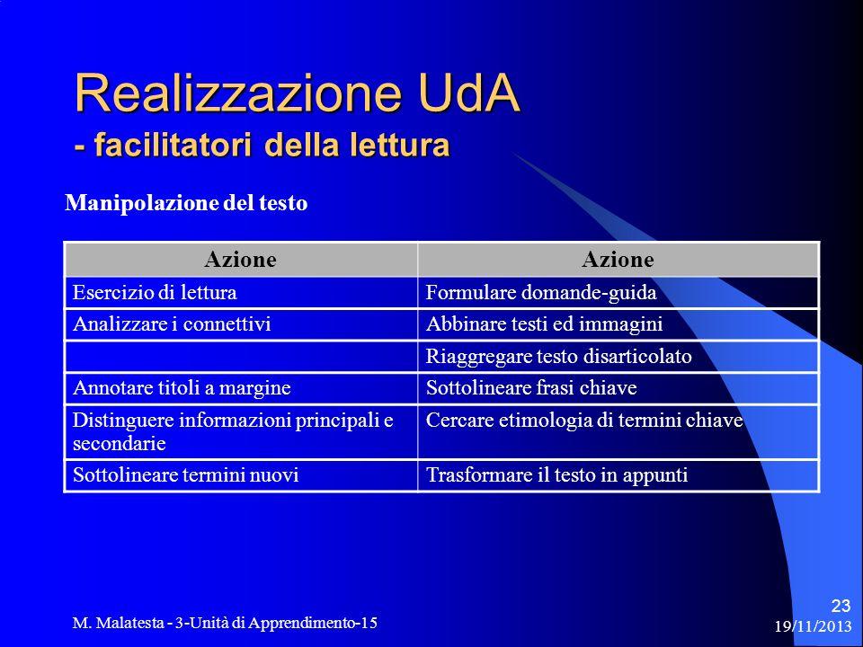 19/11/2013 M. Malatesta - 3-Unità di Apprendimento-15 23 Realizzazione UdA - facilitatori della lettura Manipolazione del testo Azione Esercizio di le