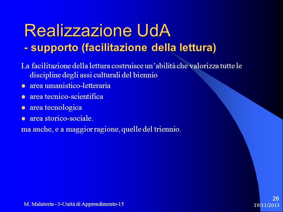 19/11/2013 M. Malatesta - 3-Unità di Apprendimento-15 26 Realizzazione UdA - supporto (facilitazione della lettura) La facilitazione della lettura cos