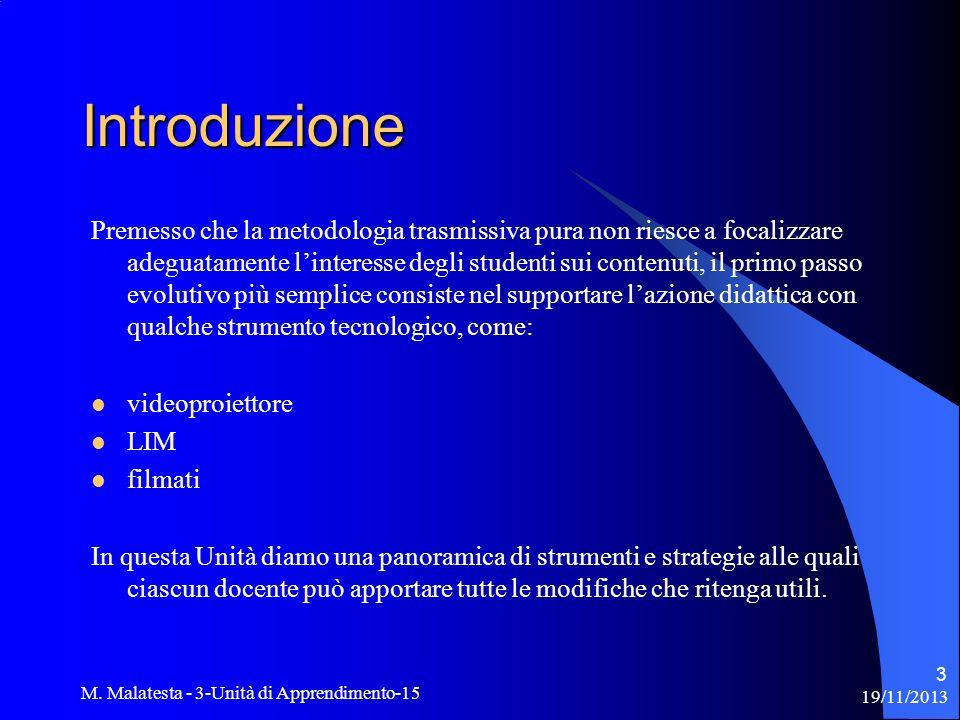 19/11/2013 M. Malatesta - 3-Unità di Apprendimento-15 3 Introduzione Premesso che la metodologia trasmissiva pura non riesce a focalizzare adeguatamen