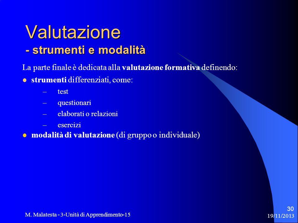 19/11/2013 M. Malatesta - 3-Unità di Apprendimento-15 30 La parte finale è dedicata alla valutazione formativa definendo: strumenti differenziati, com
