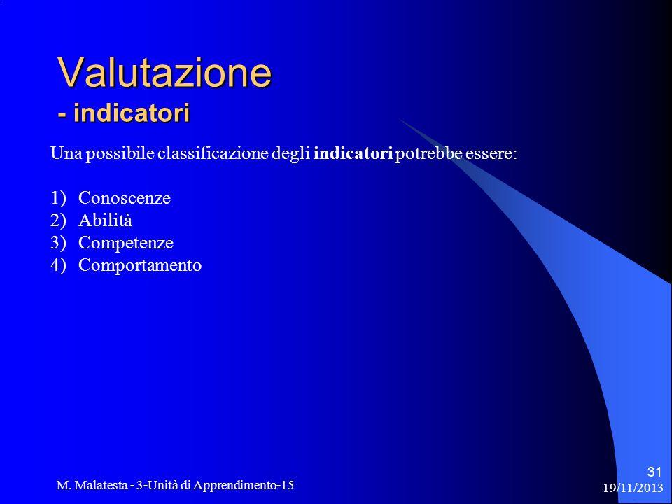 19/11/2013 M. Malatesta - 3-Unità di Apprendimento-15 31 Una possibile classificazione degli indicatori potrebbe essere: 1)Conoscenze 2)Abilità 3)Comp