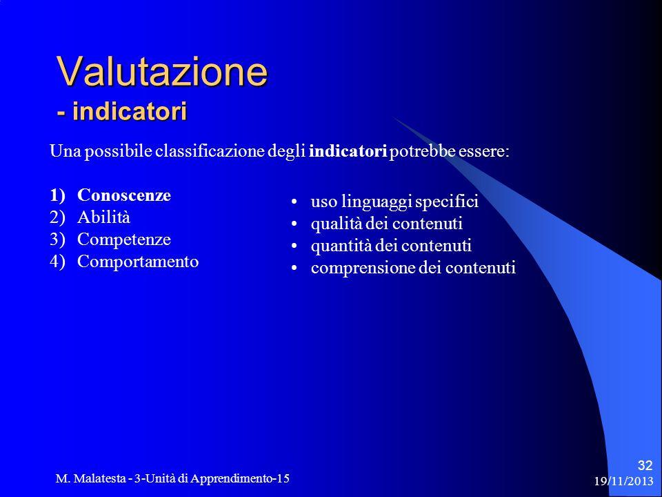 19/11/2013 M. Malatesta - 3-Unità di Apprendimento-15 32 Una possibile classificazione degli indicatori potrebbe essere: 1)Conoscenze 2)Abilità 3)Comp