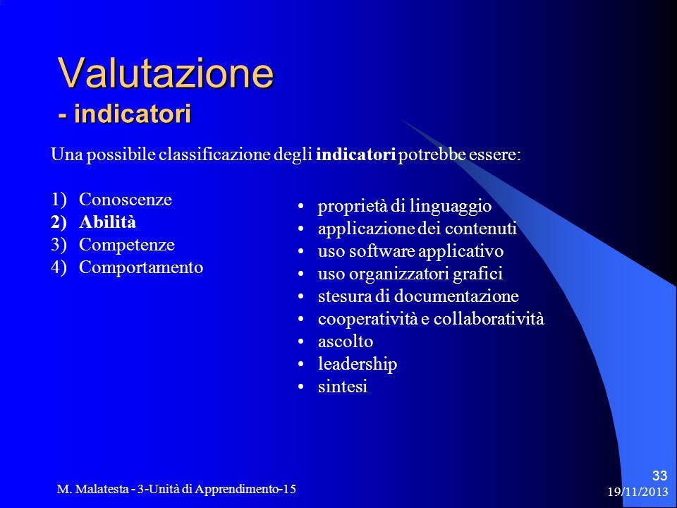 19/11/2013 M. Malatesta - 3-Unità di Apprendimento-15 33 Una possibile classificazione degli indicatori potrebbe essere: 1)Conoscenze 2)Abilità 3)Comp