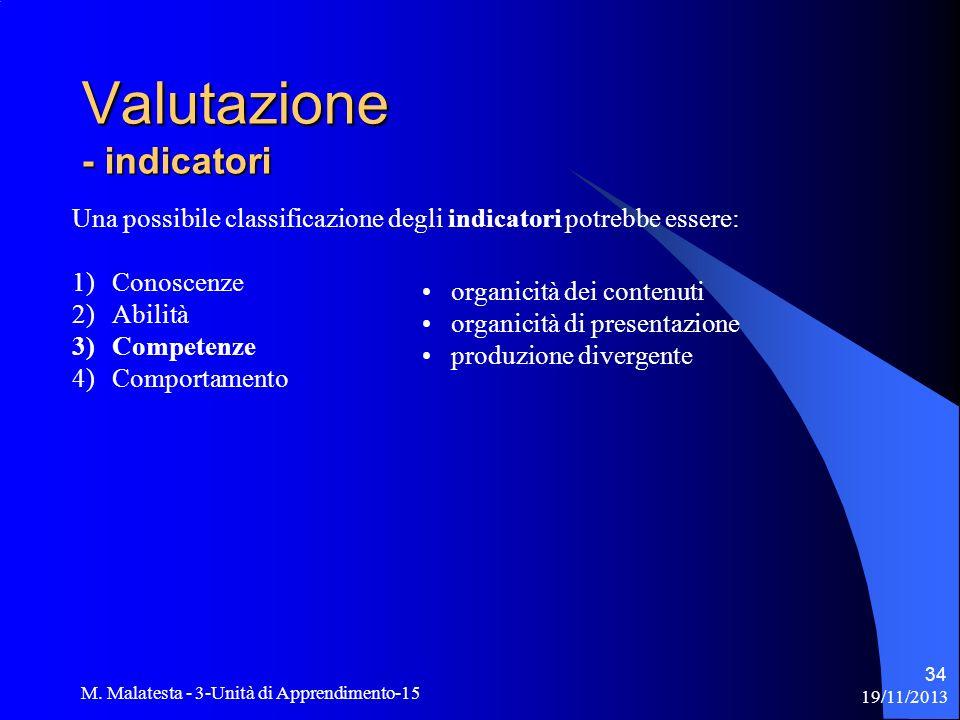 19/11/2013 M. Malatesta - 3-Unità di Apprendimento-15 34 Una possibile classificazione degli indicatori potrebbe essere: 1)Conoscenze 2)Abilità 3)Comp