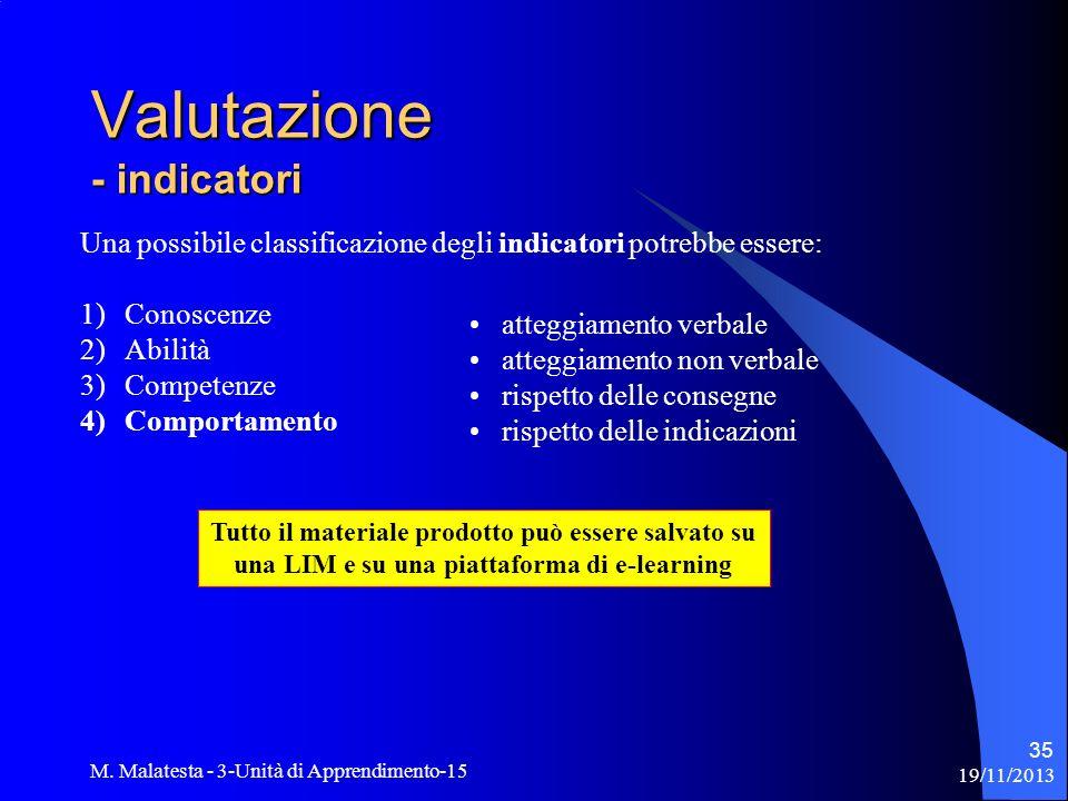 19/11/2013 M. Malatesta - 3-Unità di Apprendimento-15 35 Una possibile classificazione degli indicatori potrebbe essere: 1)Conoscenze 2)Abilità 3)Comp