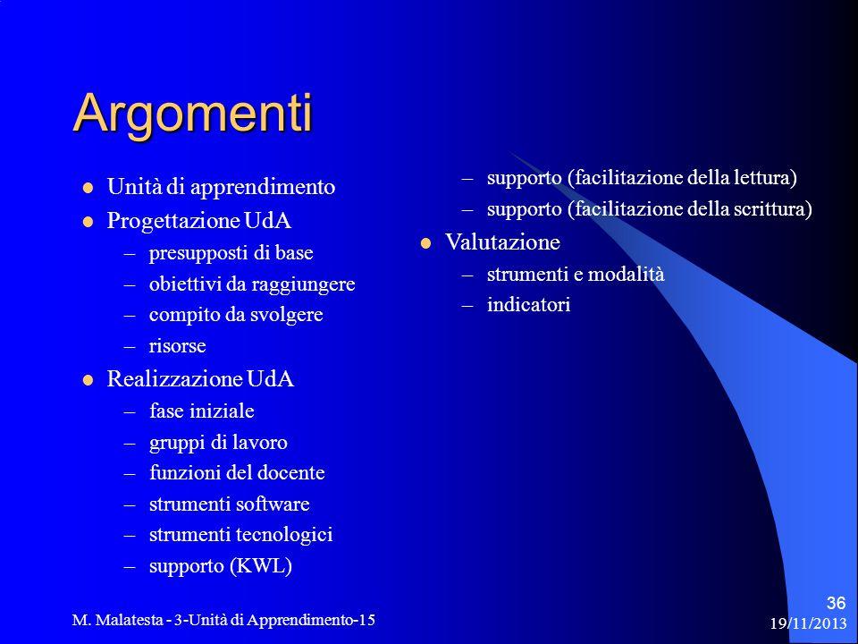 19/11/2013 M. Malatesta - 3-Unità di Apprendimento-15 36 Argomenti Unità di apprendimento Progettazione UdA –presupposti di base –obiettivi da raggiun