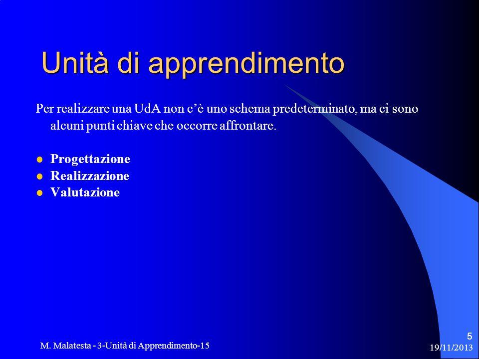 19/11/2013 M. Malatesta - 3-Unità di Apprendimento-15 5 Per realizzare una UdA non cè uno schema predeterminato, ma ci sono alcuni punti chiave che oc