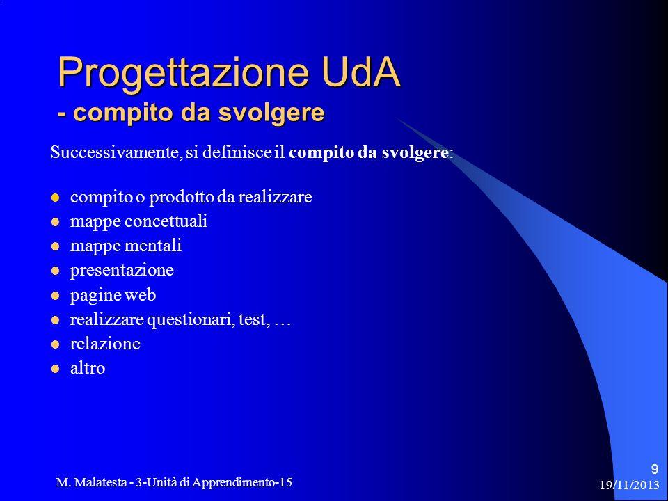 19/11/2013 M. Malatesta - 3-Unità di Apprendimento-15 9 Successivamente, si definisce il compito da svolgere: compito o prodotto da realizzare mappe c
