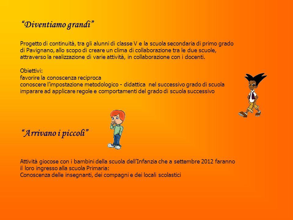 Progetto di continuità, tra gli alunni di classe V e la scuola secondaria di primo grado di Pavignano, allo scopo di creare un clima di collaborazione tra le due scuole, attraverso la realizzazione di varie attività, in collaborazione con i docenti.