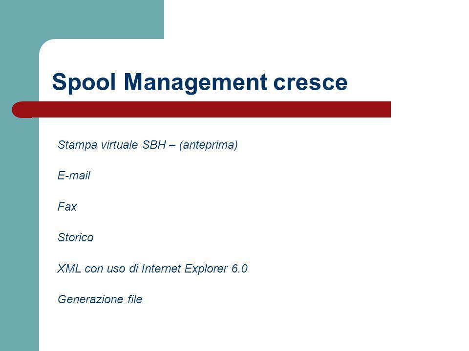 Spool Management cresce Stampa virtuale SBH – (anteprima) E-mail Fax Storico XML con uso di Internet Explorer 6.0 Generazione file