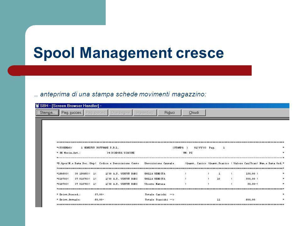 .. anteprima di una stampa schede movimenti magazzino: Spool Management cresce