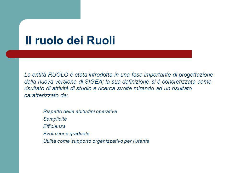 Il ruolo dei Ruoli La entità RUOLO è stata introdotta in una fase importante di progettazione della nuova versione di SIGEA; la sua definizione si è c