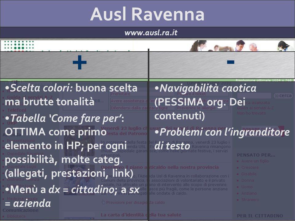 Ausl Ravenna www.ausl.ra.it + - Scelta colori: buona scelta ma brutte tonalità Tabella Come fare per: OTTIMA come primo elemento in HP; per ogni possi