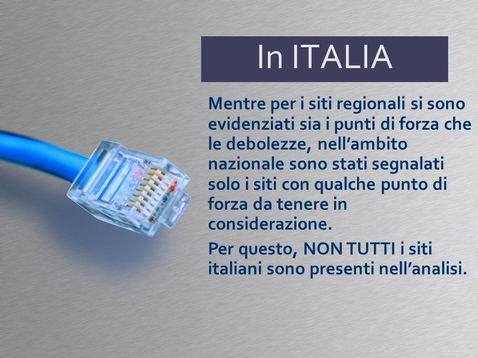 In ITALIA Mentre per i siti regionali si sono evidenziati sia i punti di forza che le debolezze, nellambito nazionale sono stati segnalati solo i siti