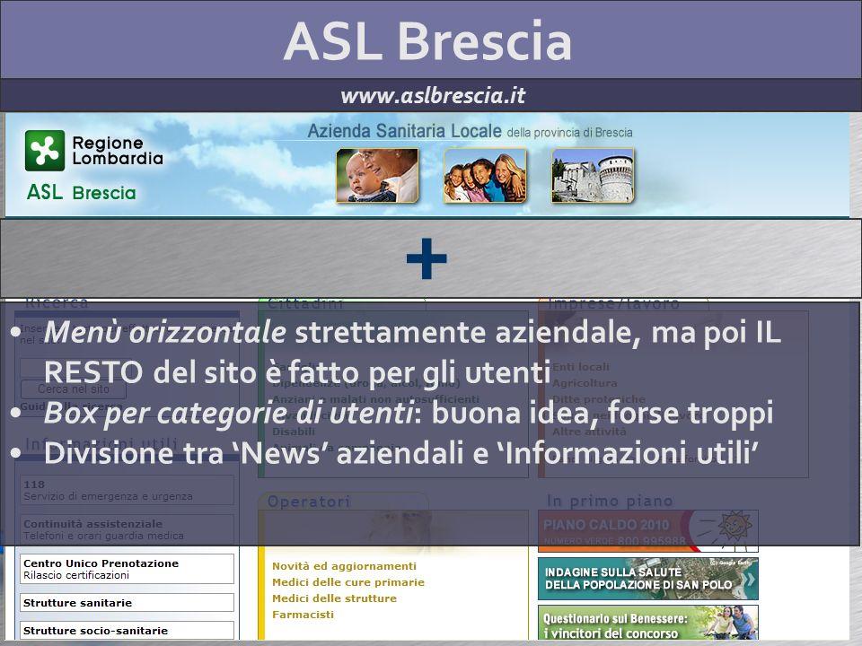 ASL Brescia www.aslbrescia.it + Menù orizzontale strettamente aziendale, ma poi IL RESTO del sito è fatto per gli utenti Box per categorie di utenti: