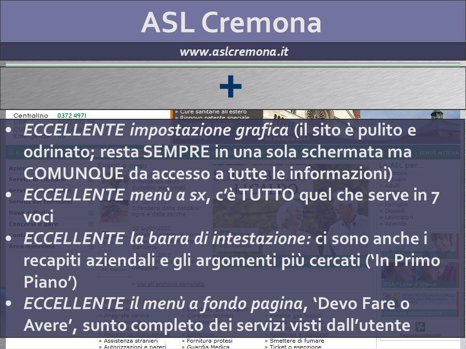 ASL Cremona www.aslcremona.it + ECCELLENTE impostazione grafica (il sito è pulito e odrinato; resta SEMPRE in una sola schermata ma COMUNQUE da access