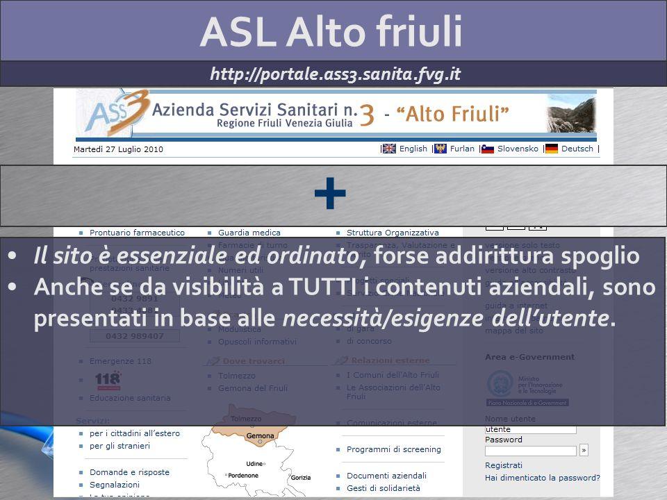 ASL Alto friuli http://portale.ass3.sanita.fvg.it + Il sito è essenziale ed ordinato, forse addirittura spoglio Anche se da visibilità a TUTTI i conte