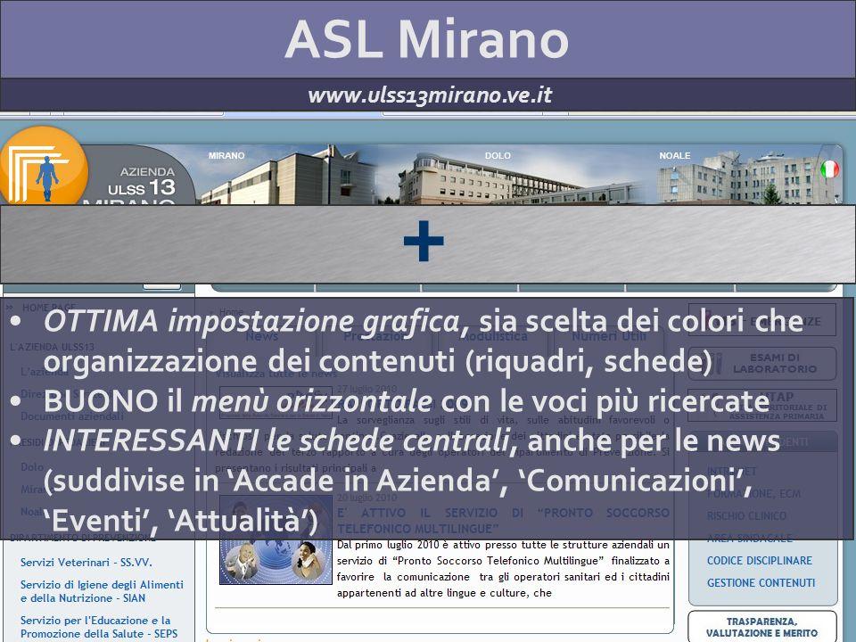 ASL Mirano www.ulss13mirano.ve.it + OTTIMA impostazione grafica, sia scelta dei colori che organizzazione dei contenuti (riquadri, schede) BUONO il me