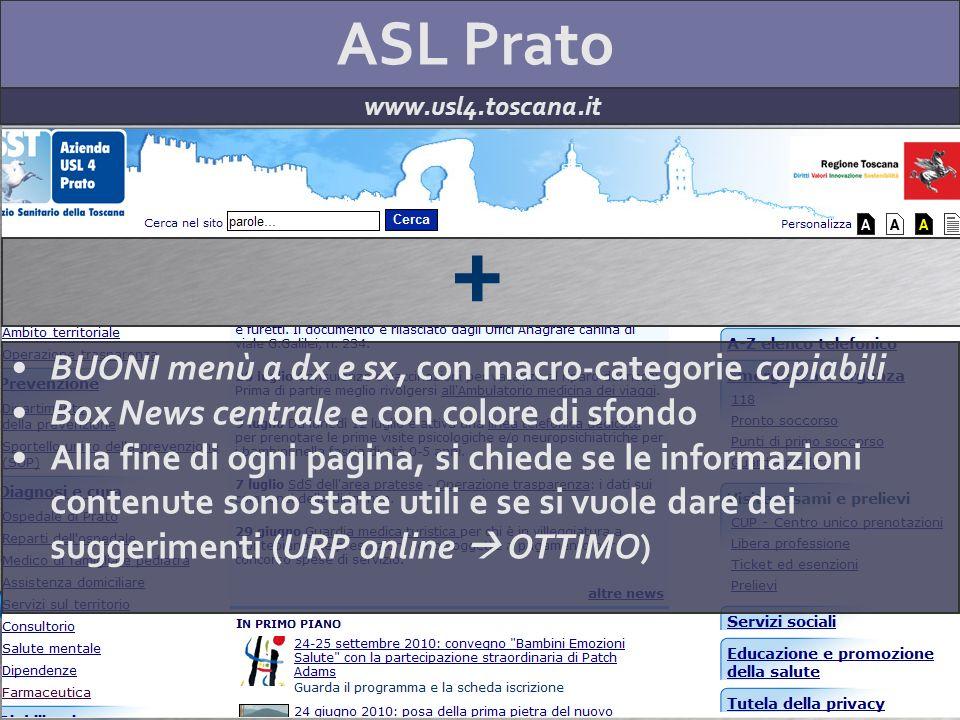 ASL Prato www.usl4.toscana.it + BUONI menù a dx e sx, con macro-categorie copiabili Box News centrale e con colore di sfondo Alla fine di ogni pagina,