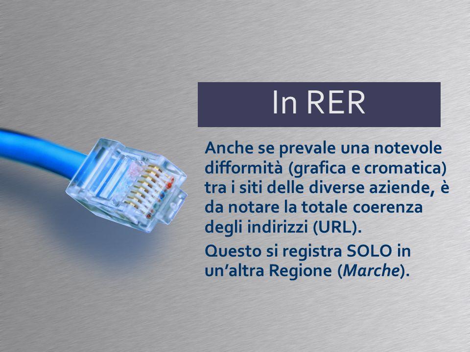 In RER Anche se prevale una notevole difformità (grafica e cromatica) tra i siti delle diverse aziende, è da notare la totale coerenza degli indirizzi