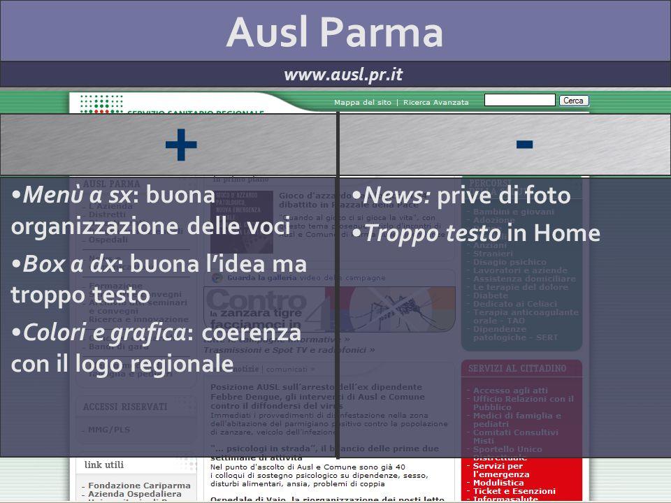 Ausl Parma www.ausl.pr.it + - Menù a sx: buona organizzazione delle voci Box a dx: buona lidea ma troppo testo Colori e grafica: coerenza con il logo