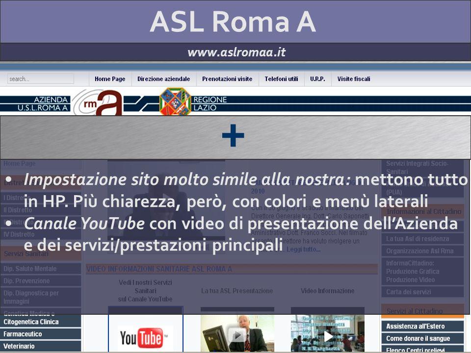 ASL Roma A www.aslromaa.it + Impostazione sito molto simile alla nostra: mettono tutto in HP. Più chiarezza, però, con colori e menù laterali Canale Y