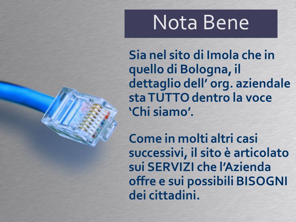 Nota Bene Sia nel sito di Imola che in quello di Bologna, il dettaglio dell org. aziendale sta TUTTO dentro la voce Chi siamo. Come in molti altri cas