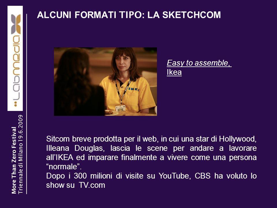 ALCUNI FORMATI TIPO : LA SKETCHCOM 13 Sitcom breve prodotta per il web, in cui una star di Hollywood, Illeana Douglas, lascia le scene per andare a la
