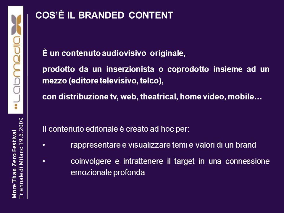 COSÈ IL BRANDED CONTENT 2 È un contenuto audiovisivo originale, prodotto da un inserzionista o coprodotto insieme ad un mezzo (editore televisivo, tel