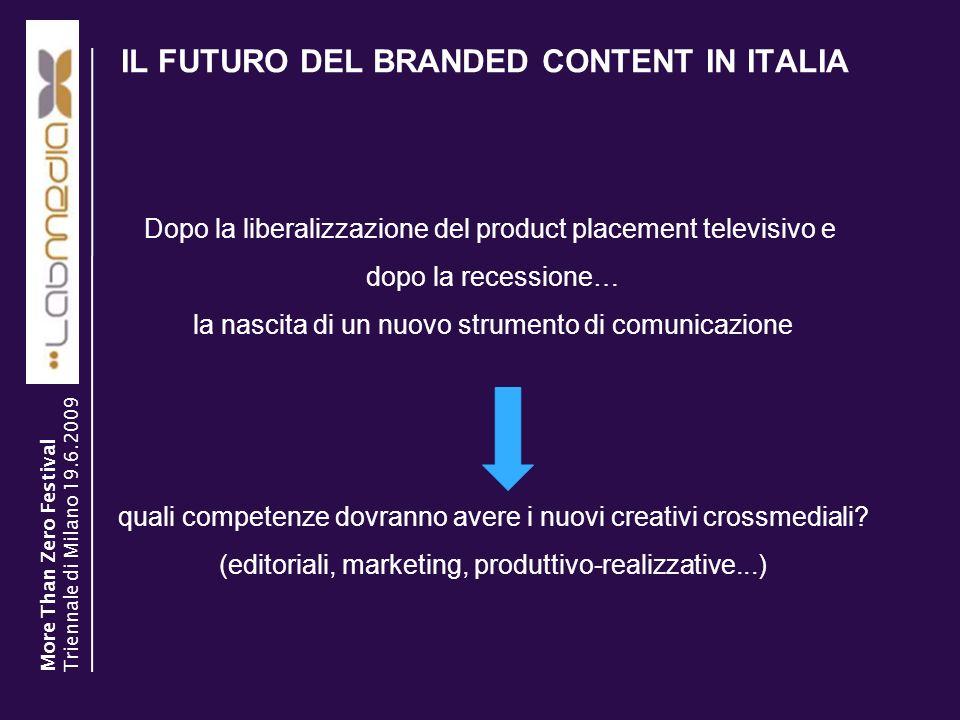 IL FUTURO DEL BRANDED CONTENT IN ITALIA 20 Dopo la liberalizzazione del product placement televisivo e dopo la recessione… la nascita di un nuovo stru