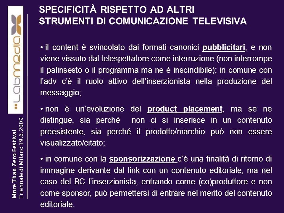 SPECIFICITÀ RISPETTO AD ALTRI STRUMENTI DI COMUNICAZIONE TELEVISIVA 3 il content è svincolato dai formati canonici pubblicitari, e non viene vissuto d