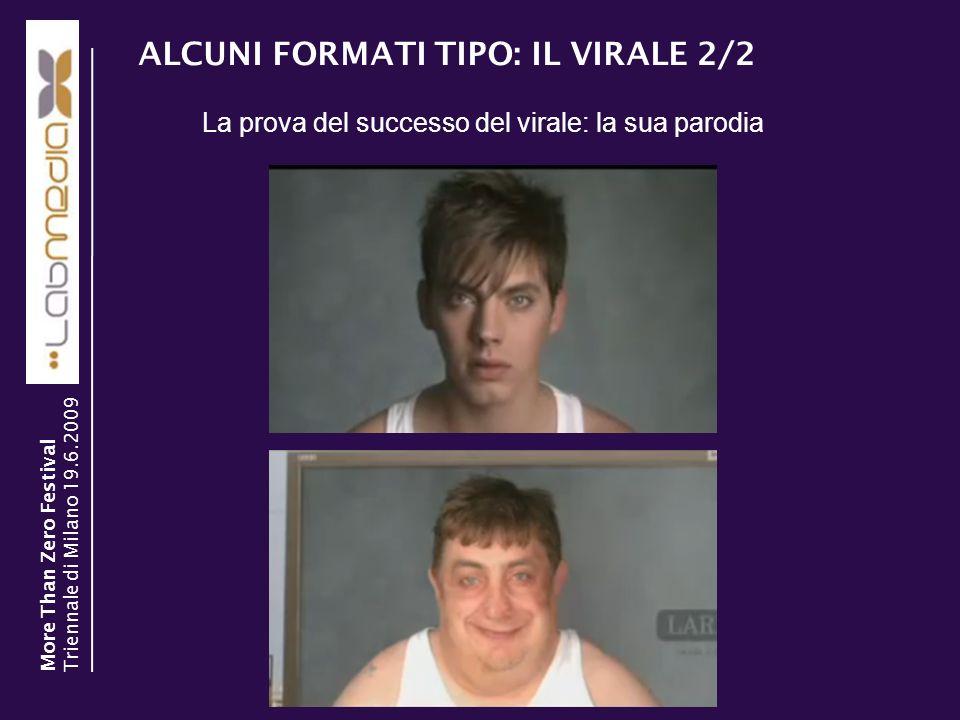 ALCUNI FORMATI TIPO: IL VIRALE 2/2 La prova del successo del virale: la sua parodia More Than Zero Festival Triennale di Milano 19.6.2009