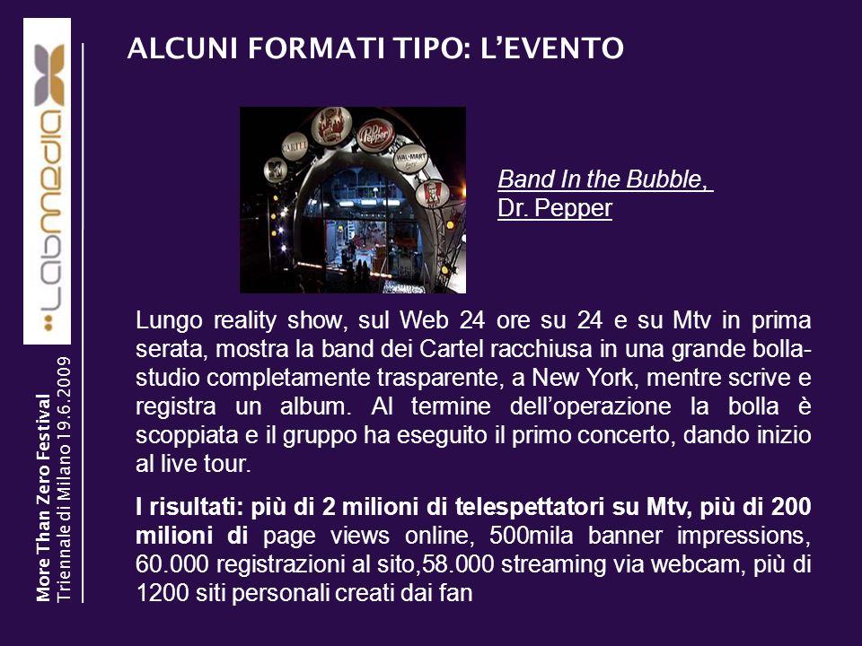 ALCUNI FORMATI TIPO: LEVENTO 30/03/2014 8 Lungo reality show, sul Web 24 ore su 24 e su Mtv in prima serata, mostra la band dei Cartel racchiusa in un