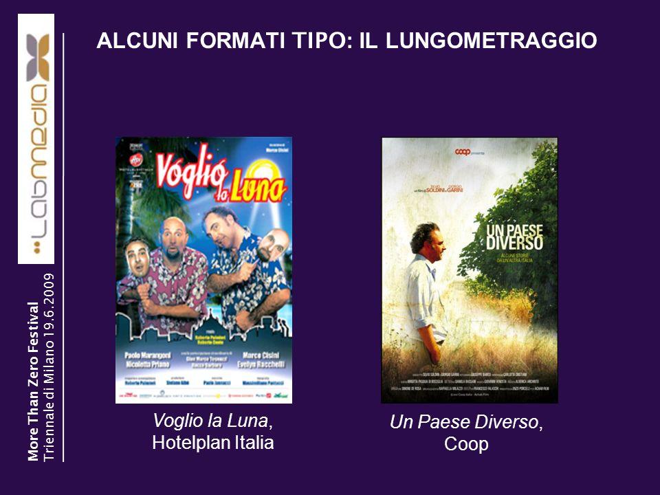 ALCUNI FORMATI TIPO : IL LUNGOMETRAGGIO 9 Voglio la Luna, Hotelplan Italia Un Paese Diverso, Coop More Than Zero Festival Triennale di Milano 19.6.200
