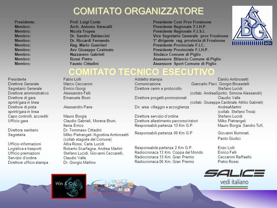 COMITATO ORGANIZZATORE Presidente:Prof. Luigi Conte Presidente Coni Prov Frosinone Membro: Arch. Antonio Varacalli Presidente Regionale F.I.H.P. Membr