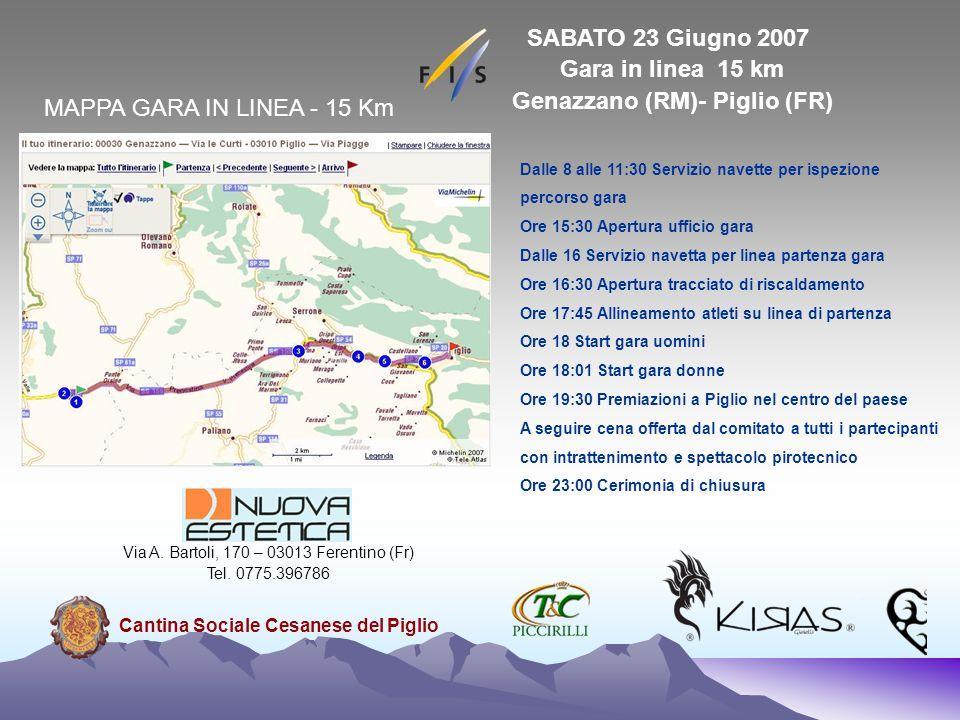 MAPPA GARA IN LINEA - 15 Km SABATO 23 Giugno 2007 Gara in linea 15 km Genazzano (RM)- Piglio (FR) Dalle 8 alle 11:30 Servizio navette per ispezione pe