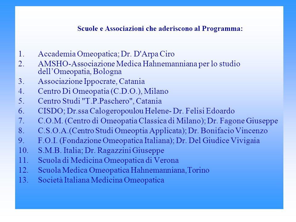 Scuole e Associazioni che aderiscono al Programma: 1.Accademia Omeopatica; Dr.