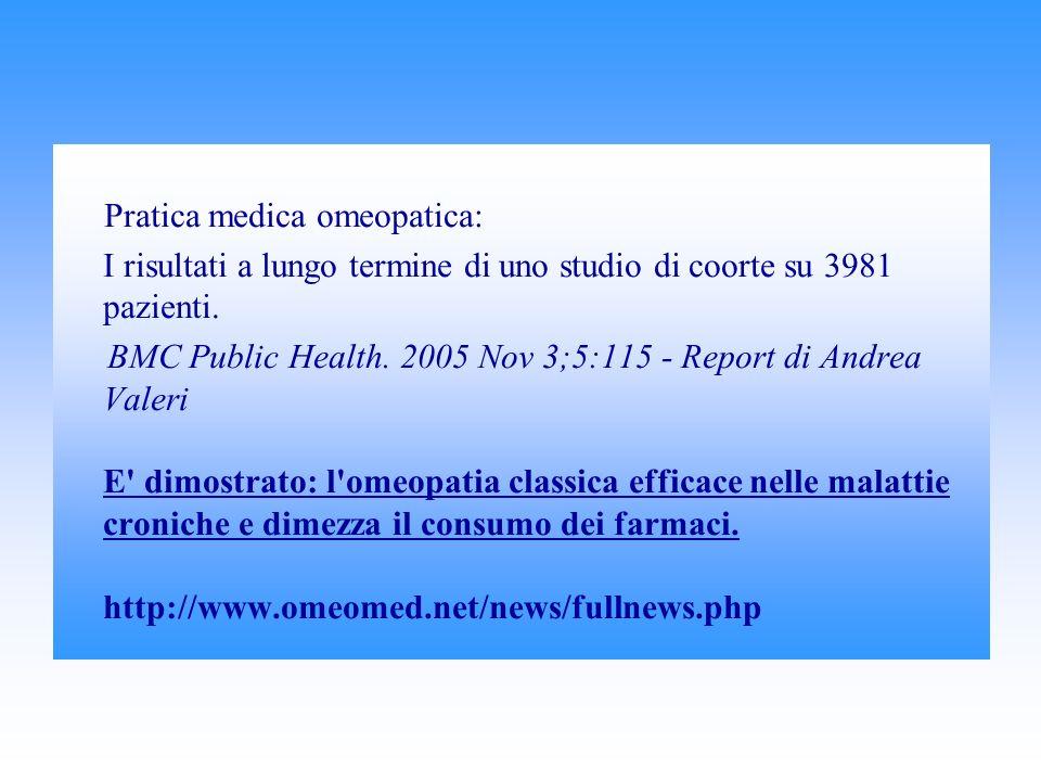 Pratica medica omeopatica: I risultati a lungo termine di uno studio di coorte su 3981 pazienti.
