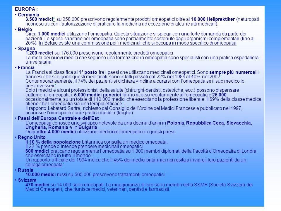 EUROPA : Germania 3.500 medici* su 258.000 prescrivono regolarmente prodotti omeopatici oltre ai 10.000 Heilpraktiker (naturopati riconosciuti con lautorizzazione di praticare la medicina ad eccezione di alcune atti medicali).* Belgio Circa 1.000 medici utilizzano lomeopatia.