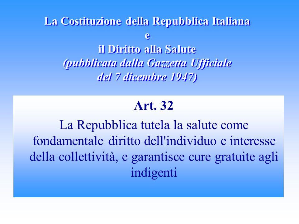 La Costituzione della Repubblica Italiana e il Diritto alla Salute (pubblicata dalla Gazzetta Ufficiale del 7 dicembre 1947) Art.